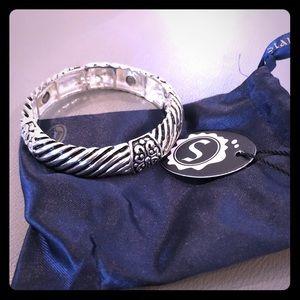 Stretchy silver cuff bracelet
